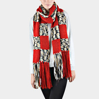 Oversized Ombre Check Pattern Knit Tassel Scarf - Red