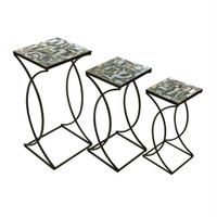 3 Decorative Nesting Tables - Square Mosaic