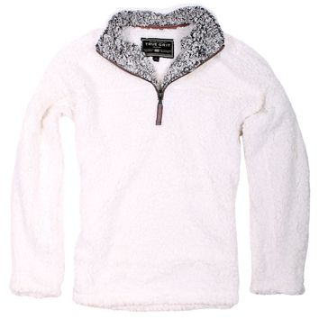 The Original Frosty Tipped Pile 1/2 Zip Pullover in Ivory by True Grit - FINAL SALE