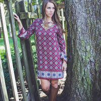 Medallion Shift Dress in Burgundy