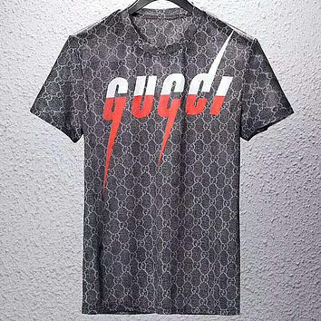 GUCCI 2019 new color matching lightning letter cotton round neck short-sleeved T-shirt Black