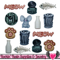 Jesse James Buttons 14 pc CAT STUFF Cat Buttons