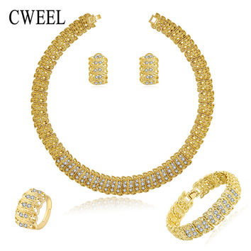 African Costume Jewelry Sets Gold Color Fashion Necklace Earrings Bracelet Rings For Women Imitated Crystal Party Accessories