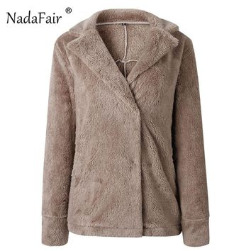 Nadafair Faux Fur Teddy Sweater Coat Women Autumn Winter Fur Fluffy Hairly Jackets Long Sleeve Pocket Turn Down Cardigan Sweater