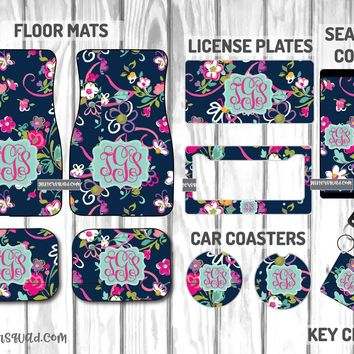 Vera Bradley Ribbons Car Mat /Plate & Frame / Seat belt cover / Key Chain / Car Coaster / Car Accessory Gift  Set