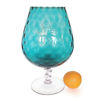 Turquoise Optic Glass Goblet Vase, Large, 1960s Mid Century Blown Glass