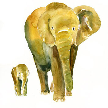 Mom and Baby ELEPHANT by DIMDI Original watercolor by dimdi