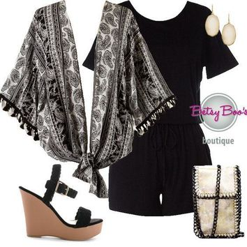 (pre-order) Set 462: Black Romper with Kimono (bag and shoes sold separately)