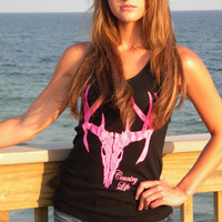 Country Life Outfitters Black & Pink Deer Skull Head Hunt Vintage Bright Fitted Tank Top Shirt