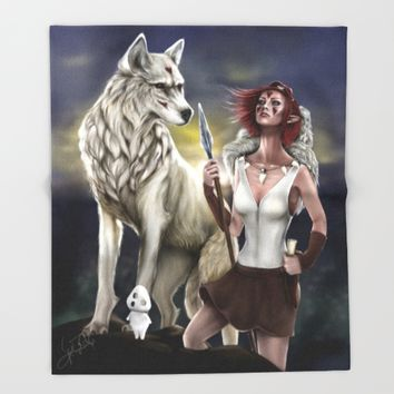 Princess Mononoke Throw Blanket by PaintedSoul