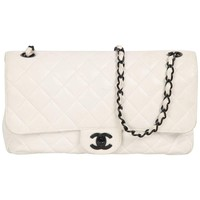 CHANEL Vintage White QUILTED Leather SHOULDER BAG w/ Contrast Chain