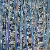 """View: OLena Art Palette Knife Oil Painting Enchanted Forest Abstract of Birch Trees Trunks Artwork Wall Art for Living Room 16"""" x 20""""x 0.5"""" Inches   Artfinder"""