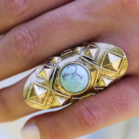 My Masterpiece Ivory And Turquoise Studded Metal Stone Rings