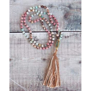Long Beaded Necklace with Bohemian Tassel and Amazonite Rhodonite Beads