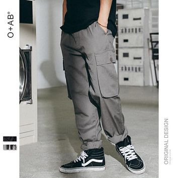 Spring Summer New Fashion Men Casual Long Pants Solid Color Military Style Men Male Pants
