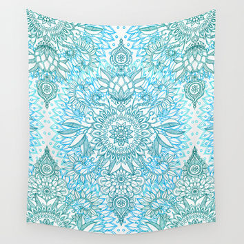 Turquoise Blue, Teal & White Protea Doodle Pattern Wall Tapestry by Micklyn
