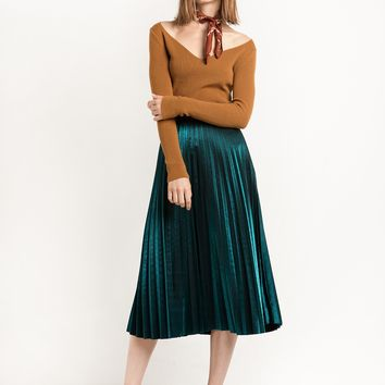 Metallic Green Pleated Midi Skirt