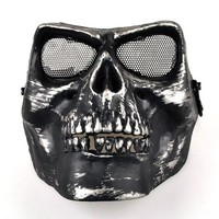 Black Airsoft Full Face Protect Death Skull Safety Mask