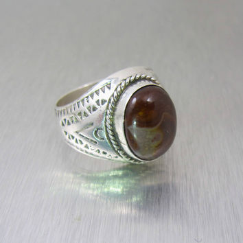 Mens Sterling Brown Agate Ring, Taxco Mexico Gemstone Jewelry, Gifts For Him, Groomsman Gift, Size 11 Unisex Ring