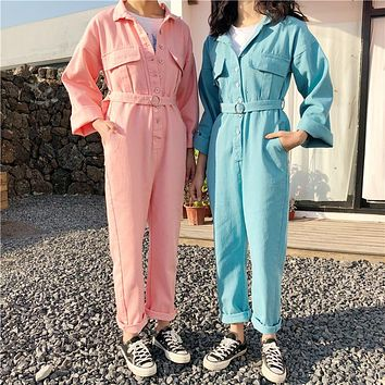 Women Sweet Simple Solid Color Lapel Pocket Strappy Long Sleeve Denim Romper Jumpsuit Jeans Trousers