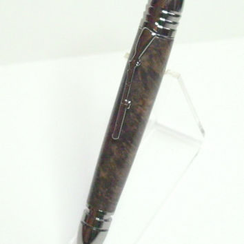 Gun Metal Civil War Pen Brown Stabilized Box Elder