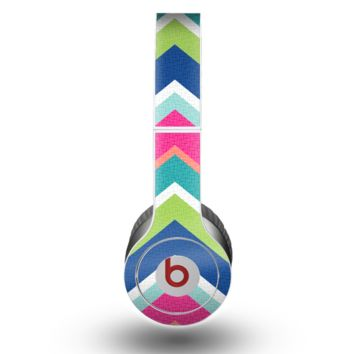 The Vibrant Teal & Colored Layered Chevron V3 Skin for the Beats by Dre Original Solo-Solo HD Headphones