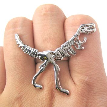 T-Rex Dinosaur Dino Fossil Skeleton Bones Adjustable Ring in Shiny Silver