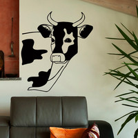 Animal Wall Decal Cow Stickers- Cow Decal Farm Animal Wall Decals Nursery Bedroom Living Room Kitchen Wall Art Country Home Decor U010