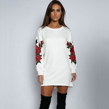 New Womens Embroidery Rose Long Sleeve Shirts Dress Sweater +Gift Necklace