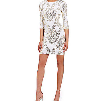 B. Darlin Sequin Mirror Print Sheath Dress - Ivory/Gold