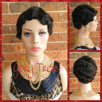 ON SALE // Short Finger Wave Full Wig, 100% Remy Brazilian Human Hair, 1920s Vintage Hairstyle // REVIVE