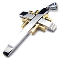 KONOV Jewelry Gold Silver Stainless Steel Cross Mens Womens Necklace Pendant 18-26 inches Chain