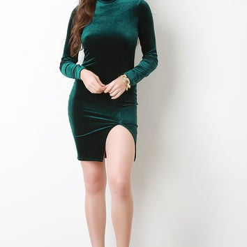 Velvet Mock Neck Long Sleeve Mini Dress