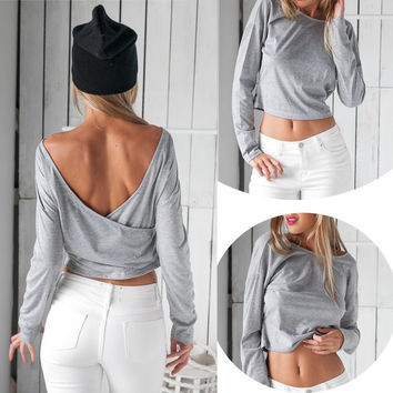 Casual Long Sleeve Backless T-Shirt