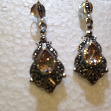Vintage Genuine Marcasite Real Amber Tone Crystal 925 Sterling Silver Deco dangle earrings