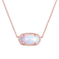 Kendra Scott: Elisa Rose Gold Pendant Necklace In White Kyocera Opal