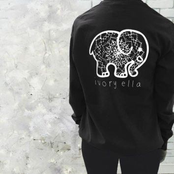 2016 Trending Fashion Black Ivory Ella Cartoon Elephant Long Sleeve Round Necked Top Shirt T-Shirt