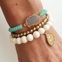 Oceanic Stone Bracelet- Gray Moonstone Slice and Aqua Crystal Beads
