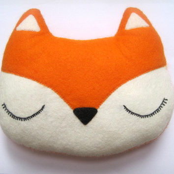 Fox Pillow - Woodland Plush Felt Stuffed Christmas Orange Toy - Childs Nursery Decor