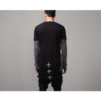 Mens HF Back Triple Cross Layered Looong Tee at Fabrixquare