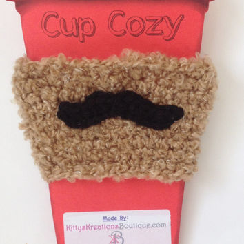Mustache Coffee/ Sippy Cup Cozy - Perfect for a man on Valentine's Day - Any Color