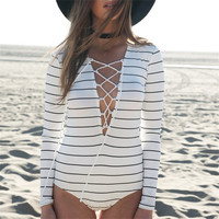 Long Sleeve Vacation Beach Pants Stripes Jumpsuit [4918862788]