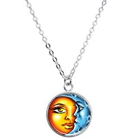 Celestial Sun and Moon Pendant Necklace