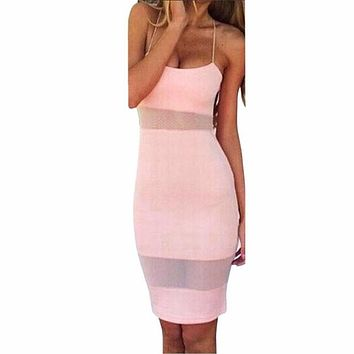 Women's Sexy Sheer Sleeveless Camis Bodycon Dress
