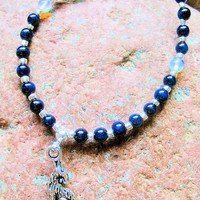 Song of the Wolf Moonstone and Sodalite Blue Necklace