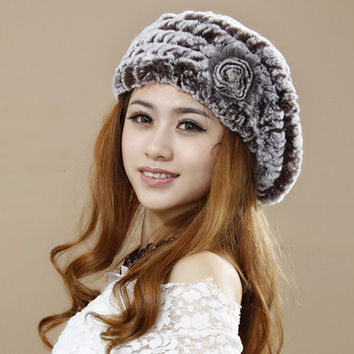 Hot Sale Real Rabbit Fur Hat Knitted Rabbit Fur Caps Wool Inner Real Fur Beanie Winter Fur Hats YH004