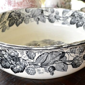 RARE 1880 Black Transferware HUGE Punch Bowl Copeland Spode Rural Scenes Sheep Hops & Vine Border