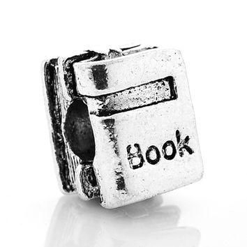 New Silver Plated Bead Charm European Vintage Cute Study Book Beads Fit Women Pandora