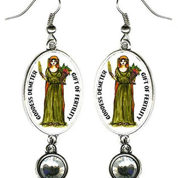 "Goddess Demeter Gift of Fertility Silver Rhinestone 2 1/2"" Earrings"