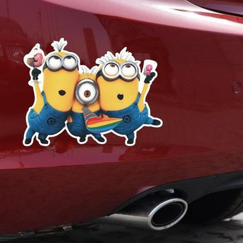 Car Stickers Minions Cartoon Cute Funny Lovely  Creative Decals Waterproof Reflective Auto Tuning Styling 14x11cm D16